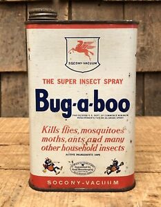 Vintage Socony Bacuum Bug-a-boo Pegasus Logo Insect Spray 1 Quart Can NOS