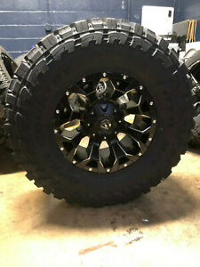 17x9 Fuel D546 Assault Black Wheels Rim 35 Toyo Mt Tires Jeep Wrangler Jk Jl Jt