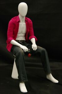 Seated Male Adult Fiberglass Matte White Mannequin With Stool Included