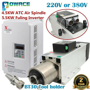 4 5kw Bt30 Atc Air Cooled Automatic Tool Change Spindle 220v 380v 5 5kw Inverter