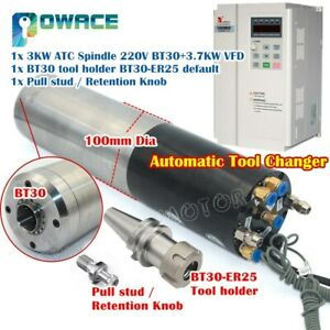 3kw Water Cooled Cnc Atc Spindle Motor 24000rpm bt30 Tool Holder 3 7kw 220v Vsd