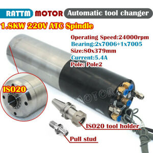 Automatic Tool Changer Atc 1 8kw Water Cooling Cnc Spindle Motor Iso20 220v 80mm