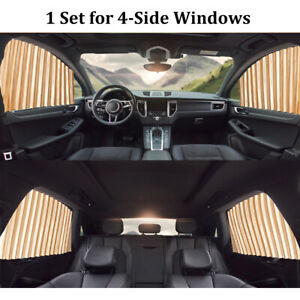 4pc Magnetic Car Window Sun Shade Auto Visor Shield Curtain Cover Accessories
