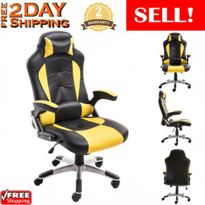 Racing Gaming Chair Ergonomic Leather Swivel Office Computer Seat Footrest Ad