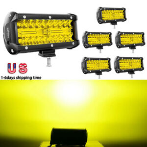 Nilight 6pcs Led Light Bar 6 5inch 7 120w Off Road Fog Driving Lights For Jeep