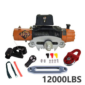 12000lb Nylon Rope Electric Recovery Winch Wireless Remote For Truck Suv Offroad
