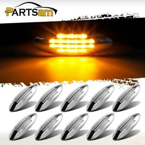 10x6 3 5 Flat line Stealth Amber Side Marker Clearance Light Clear 18led Sealed