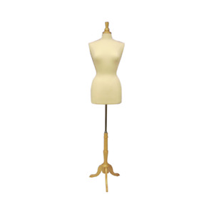Female Dress Form Pinnable Mannequin Torso Size 10 12 With Tripod Wood Base