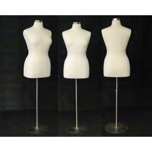 Female Dress Form Pinnable Foam Mannequin Torso Size 14 16 With Round Metal Base