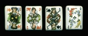 Set Of 4 Vintage Buttons Playing Cards Akqj Porcelain With Wire Shanks