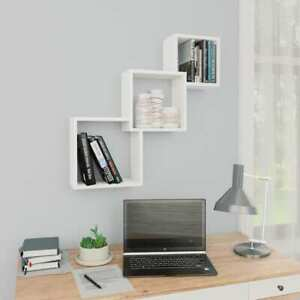 Vidaxl Cube Wall Shelves White Chipboard Hanging Wall Storage Display Cabinet