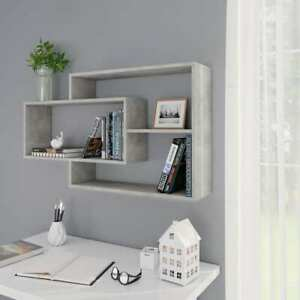 Vidaxl Wall Shelves Concrete Gray Chipboard Hanging Display Storage Cabinet