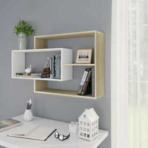 Vidaxl Wall Shelves White And Sonoma Oak Chipboard Hanging Display Storage