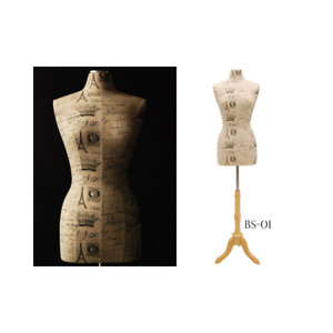 Female Dress Form Body Form Mannequin Torso Size 6 8 With Paris Printed Pattern