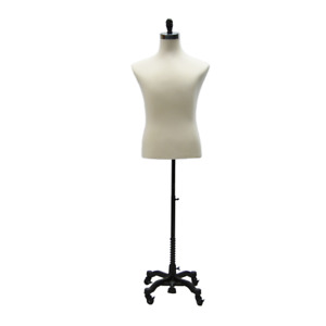 Adult Male Off White Torso Shirt Form Mannequin Display With Black Wheel Base
