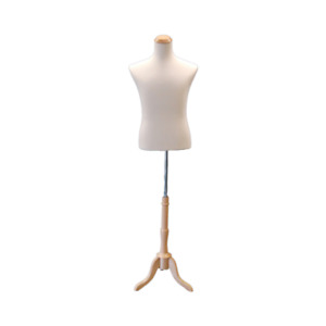 Adult Male Off White Torso Shirt Form Mannequin Display With Wood Tripod Base