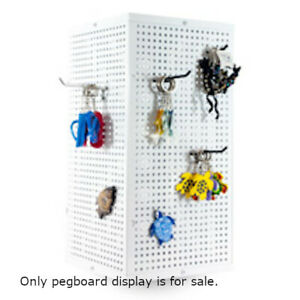 Metal Pegboard Counter Spinner Display In White 10 W X 10 D X 20 H Inches