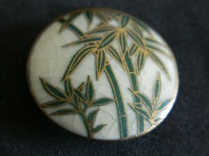 Superb Antique Vtg Satsuma Porcelain Japanese Button Lots Of Gold Trees 15 16