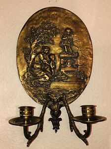 Vintage Antique Cast Bronze Brass Neoclassical Double Candle Wall Sconce 13