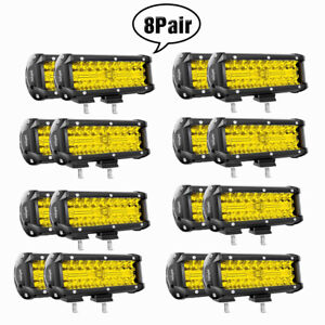 Nilight 7inch Yellow Led Light Bar 120w Spot Flood Combo Fog Driving Off Road 7