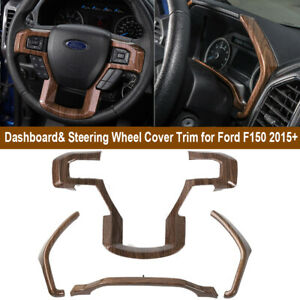 Dashboard Instrument Box Steering Wheel Cover Trim For Ford F150 15 Wood Grain