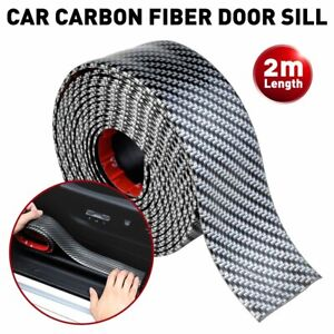 Auto Car Carbon Fiber Door Plate Bumper Sill Scuff Cover Anti Scratch Sticker 2m