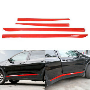 Red Body Side Door Molding Cover Trim Car Exterior For Jeep Cherokee 2014 18