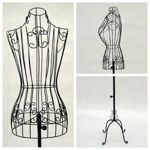 Female Adult Metal Wire Black Dress Form With Adjustable Antique Base