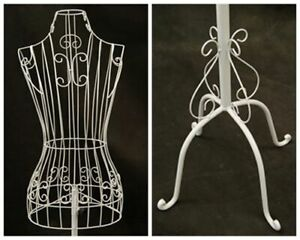 Female Adult Metal Wire White Dress Form With Adjustable Antique Base