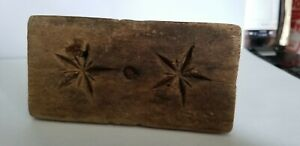 Vintage Wooden Farm House Primitive Star Butter Mold Stamp Press Only
