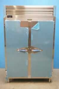 New Traulsen Stainless Steel Two Section Doors Reach In Refrigerator Model Rht2