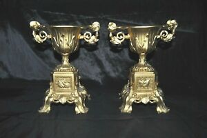 Antique 19th Century Victorian Ornate Urns Pair France Spelter