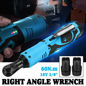 18v Rechargeable 3 8 Cordless Electric Ratchet Right Angle Wrench W Battery