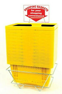 Standard Size Yellow Shopping Baskets With Plastic Handles Lot Of 12