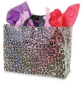 Large Leopard Print Transparent Plastic Shopping Bag 10 X 6 X 12 Inch 100 Pc