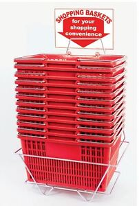 New 12 Red Durable Break Resistant Plastic Shopping Baskets W metal Stand