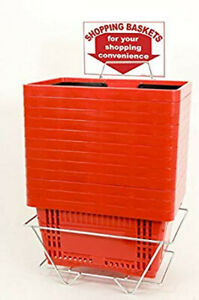 Red Shopping Baskets 16 X 12 X 9 With Plastic Handles Count Of 12