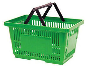 Green Jumbo Shopping Baskets 19x12 5x10 5 Inches With Plastic Handles set Of 12