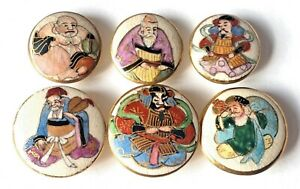 6 Vintage Japanese Satsuma Porcelain Buttons Gods Of Fortune Immortals