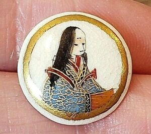 Antique Japanese Porcelain Satsuma Button Robed Figure With Long Hair