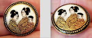 Antique Japanese Porcelain Satsuma Button Geishas Thick Gold Detail