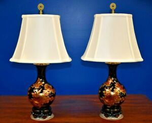 Small Pair Of 24 Chinese Porcelain Vase Lamps Asian Oriental Blk W Gold Peony