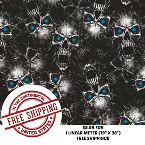 Hydrographic Water Transfer Hydro Dip Film Blue Eye Vampire Skull 1m 19 x 38