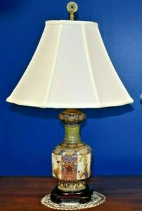 Small Pair Of 25 Chinese Porcelain Vase Lamps Asian Oriental Qian Long Style