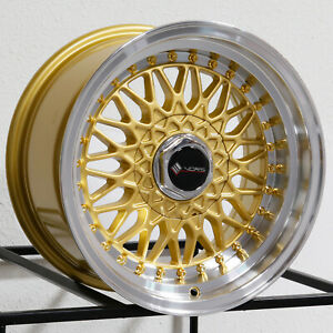 4 new 15 Vors Vr3 Wheels 15x8 4x100 4x114 3 20 Gold Rims