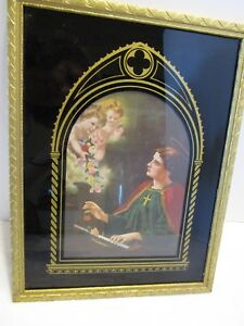 Antique Art Deco Black Reverse Painted Glass Print St Cecilia Music Patron