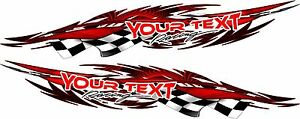 Custom Name Boat Vehicle Car Graphics Decal Vinyl Stickers Racing Flag 60