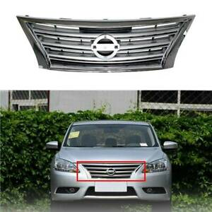 Replacement Chrome W Silver Front Upper Grill For Nissan Sentra 2013 2015 2014