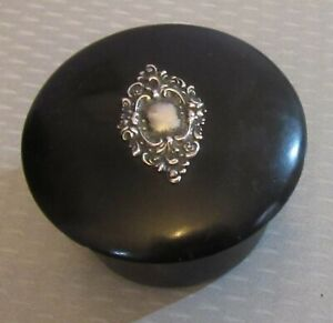 Victorian Antique Black Celluoid Sterling Silver Cartouche Box Stud Vanity Trink