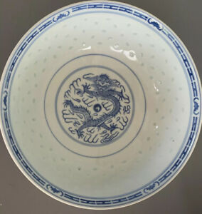 Rare Antique Chinese Blue White Porcelain Bowl With Dragon